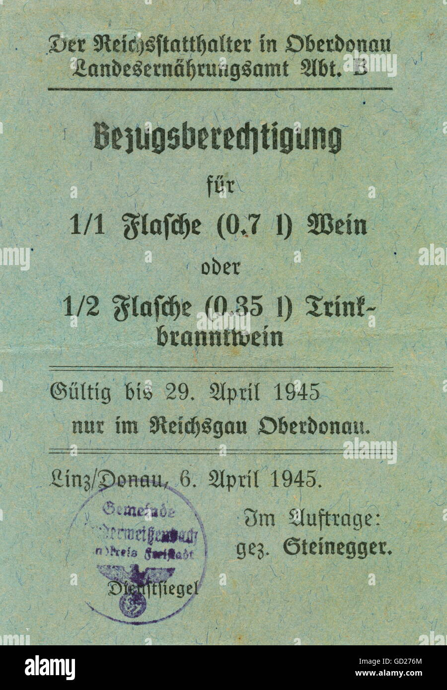 National Socialism, documents, Germany, Austria, Linz, time of the Second World War, food ration card for 1 bottle - Stock Image