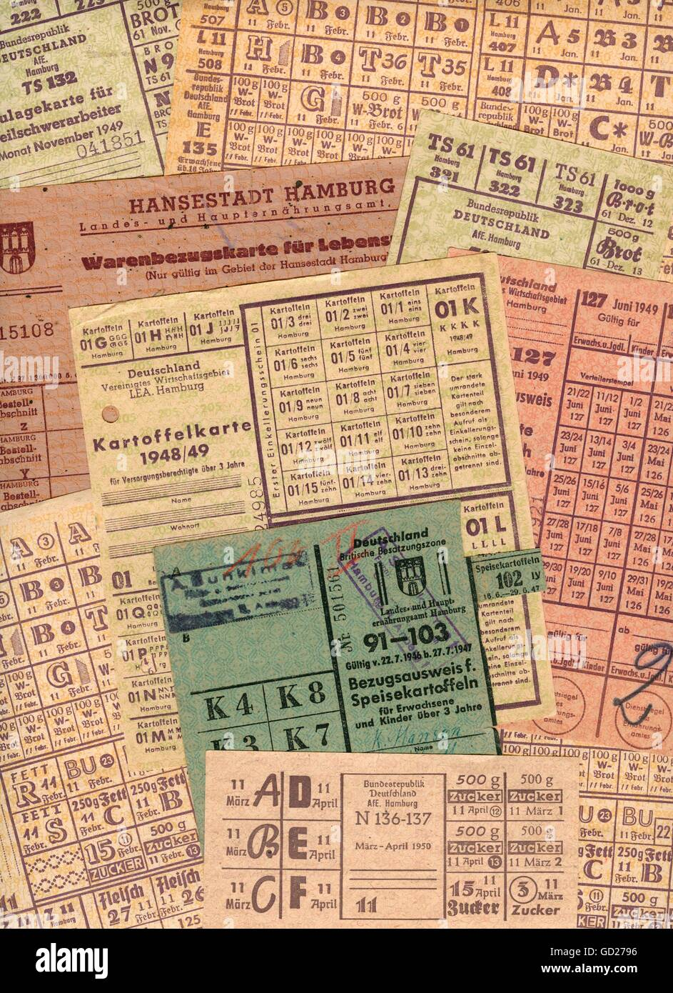 post war period, economy, Germany, Hamburg, postwar era, the Second World War, different food ration cards, issued - Stock Image