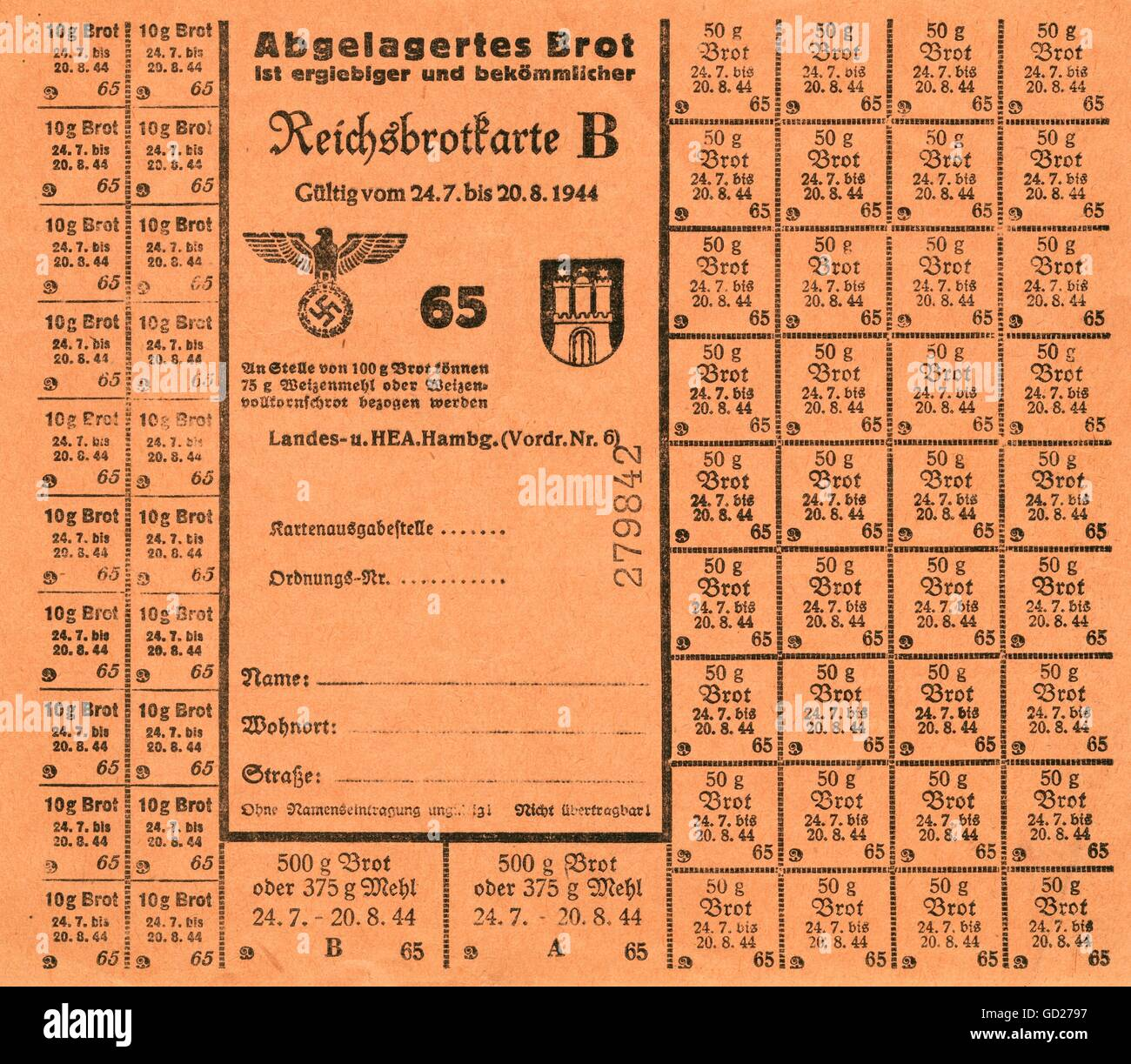 National Socialism, documents, Hamburg, the time of the Second World War and the Third Reich, food ration card for - Stock Image