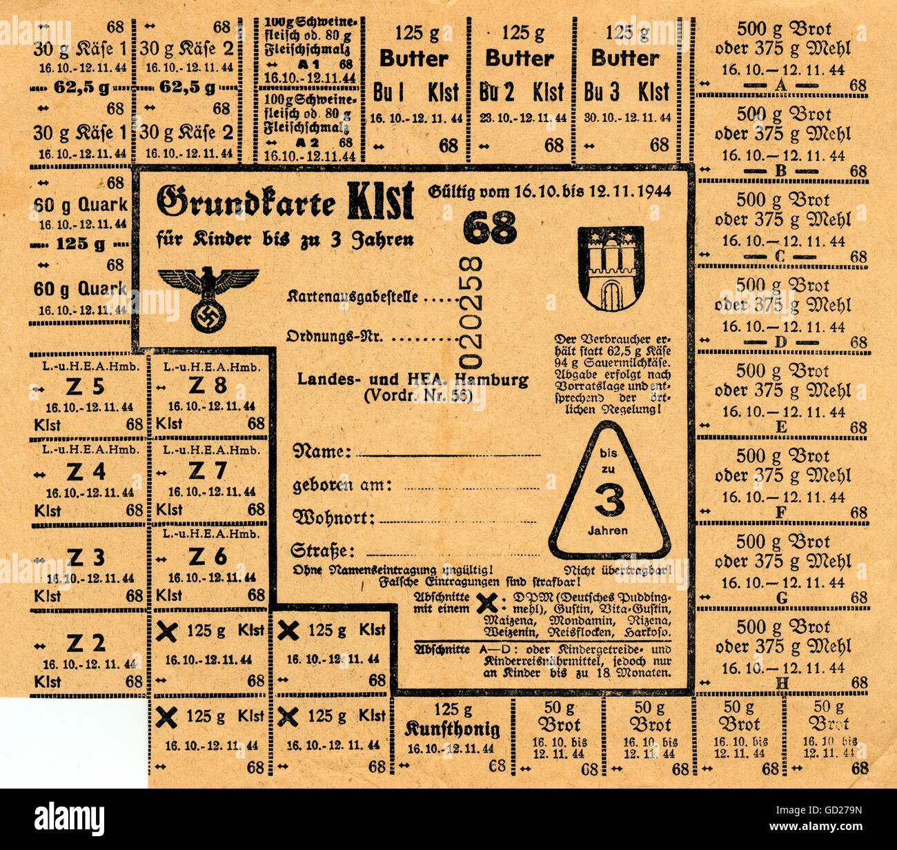 Germany, Hamburg, time of World War II, food ration cards for children till 3 years, for cheese, cream cheese, butter, - Stock Image