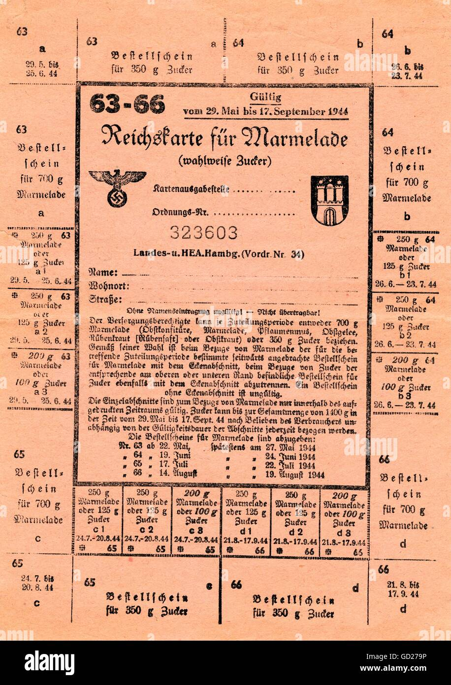 National Socialism, documents, Germany, Hamburg, the time of World War II and the Third Reich, food ration cards - Stock Image