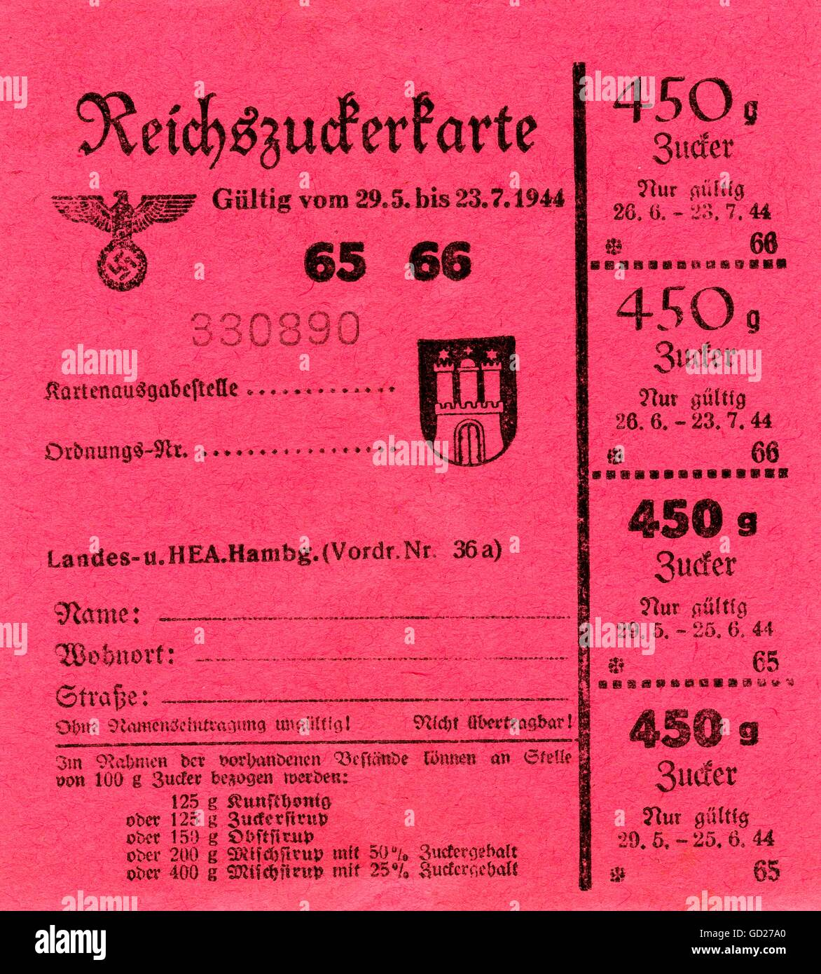 National Socialism, documents, Germany, Hamburg, the Second World War, ration cards for sugar, legal from the 29.5. - Stock Image