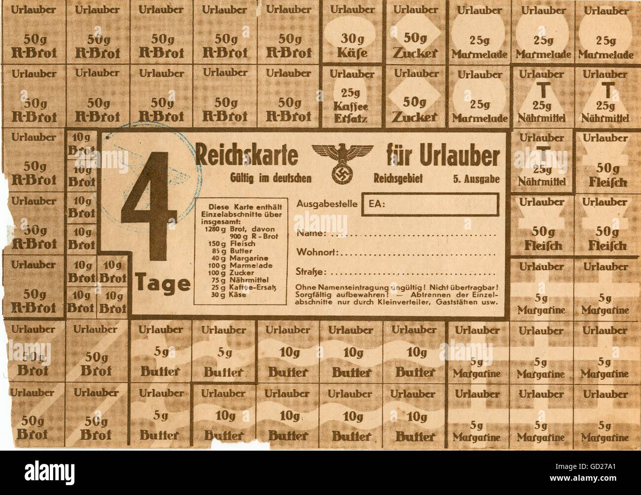 National Socialism, documents, Germany, the Second World War, food ration card for holidaymaker for four days, in - Stock Image