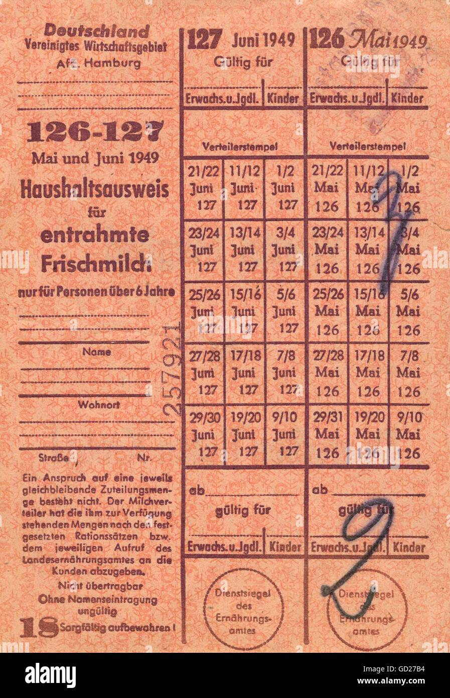 post war period, economy, food ration card for fresh milk, Hamburg, Germany, valid in May and June 1949 the Second - Stock Image