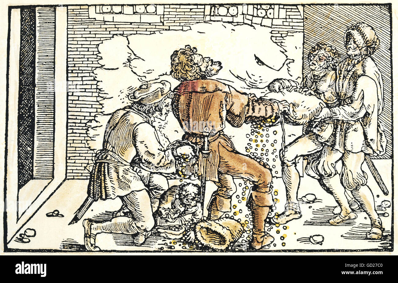 """allegories, """"About the lost money"""", conscienceless people stealing money from an aide, coloured woodcut by Petrarca Master (1532 - 1620) to """"Von der Artzney bayder Glueck"""" (De remediis utriusque fortunae 1344/1366), by Francesco Petrarca (1304-1374), , Additional-Rights-Clearences-Not Available Stock Photo"""