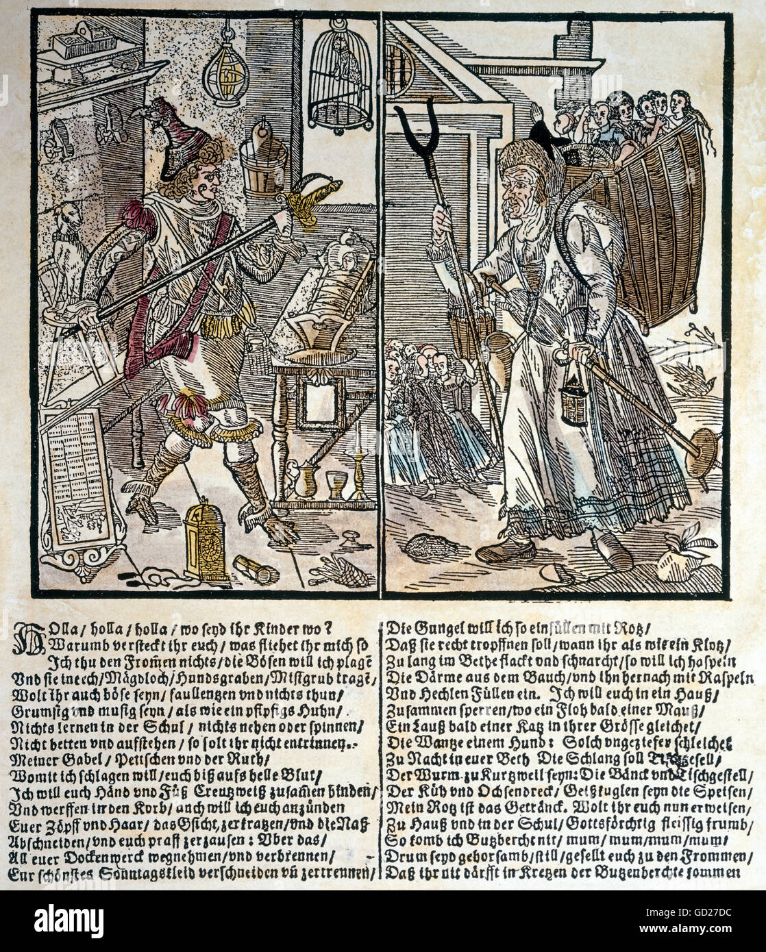 education, caricature, Hans Hinterfuer and witch Butzenbrecht as bugbear, woodcut, coloured, Augsburg, Germany, Stock Photo