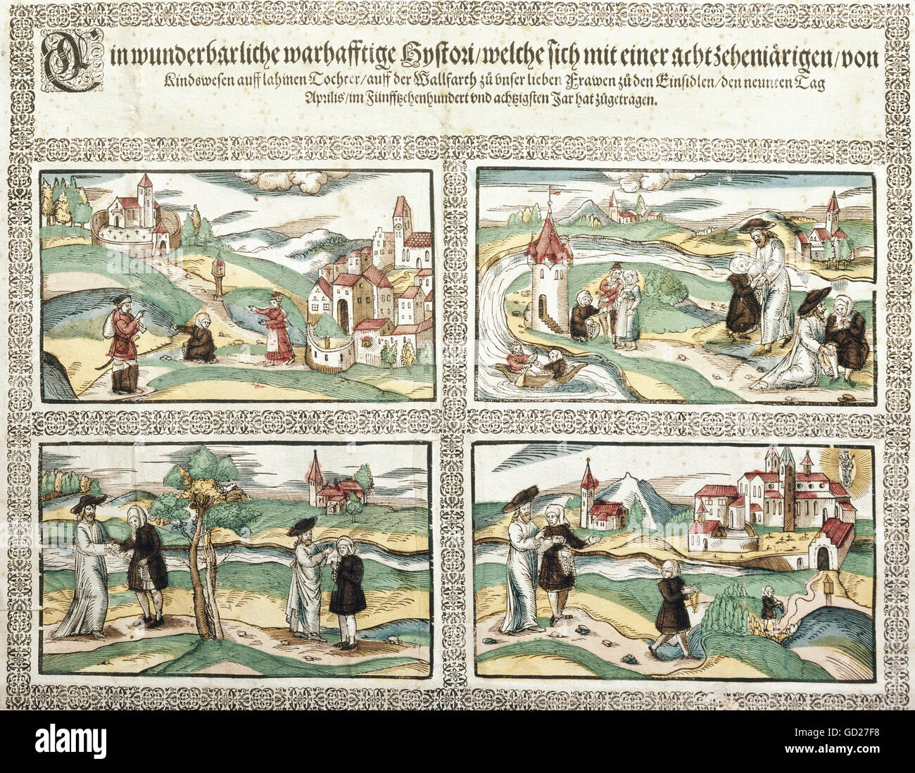 religion, Christianity, pilgrimage, miracle with the cure of a lame daughter, printed by Johann Mayer, Dillingen, - Stock Image