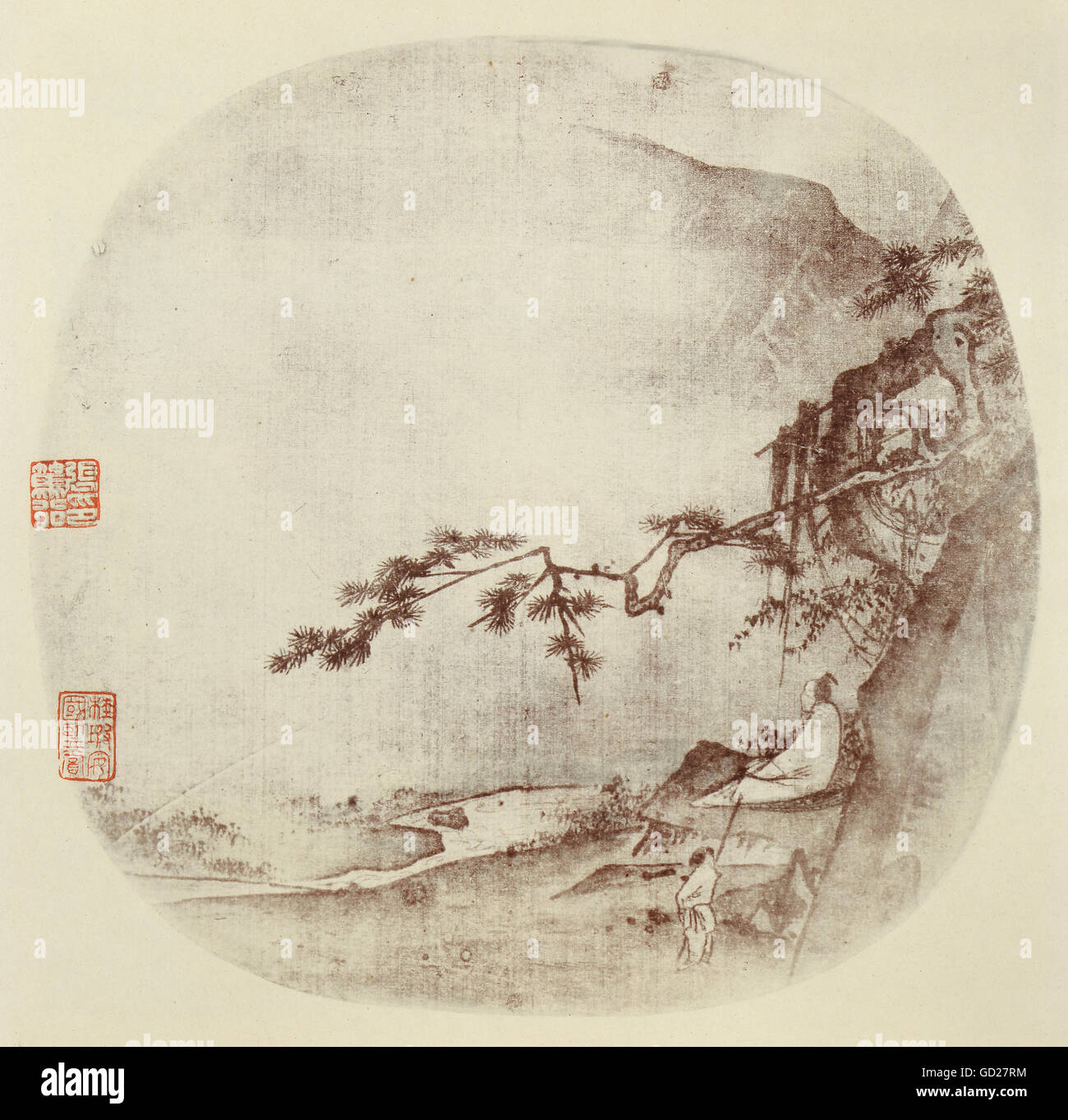fine arts, painting, wise man sitting under a pine tree, Indian ink on silk, China, Ma Yuan, Song Dynasty (960  - Stock Image