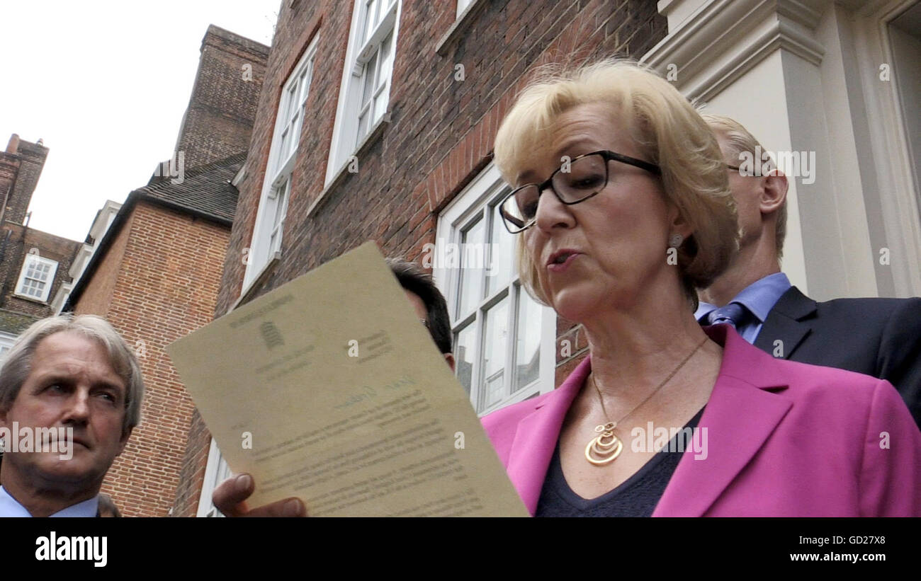 Screen grab taken from a video of Andrea Leadsom speaking to the media in Westminster, London, where she confirmed - Stock Image