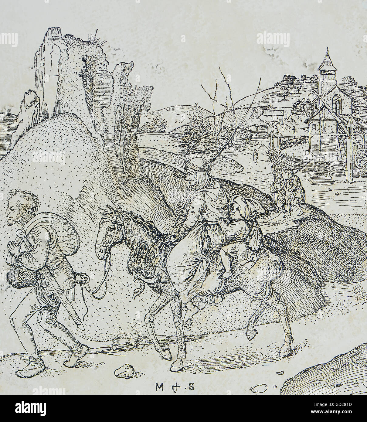 fine arts, Schongauer, Martin (1446 - 1491), print, Jenishe on the road, copper engraving, 15th century, private - Stock Image