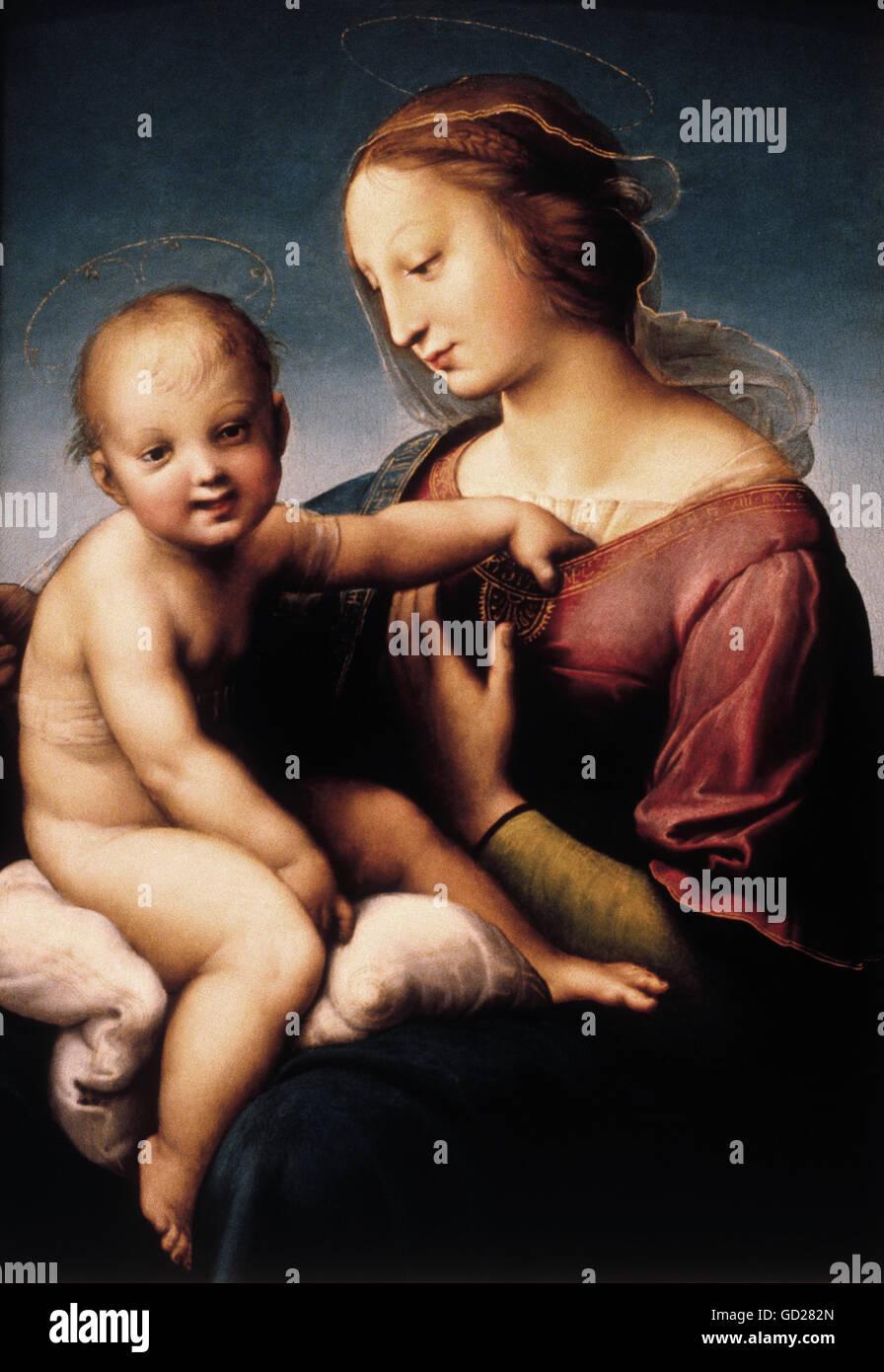 """fine arts, Raphael, (Raffaello Sanzio da Urbino), (1483-1520), painting, """"Grande Madonna Cowper"""", 1508, oil on canvas, Stock Photo"""