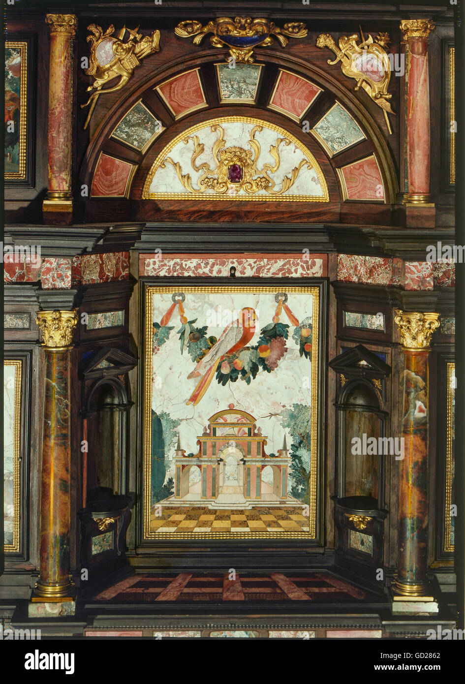 Ordinaire Fine Arts, Mosaic, Pietra Dura, Cabinet Of The Prince Elector Maximilian II  Of Bavaria, Inset With Small Temple And Parrot, Metal Fittings With Golden  Brass ...