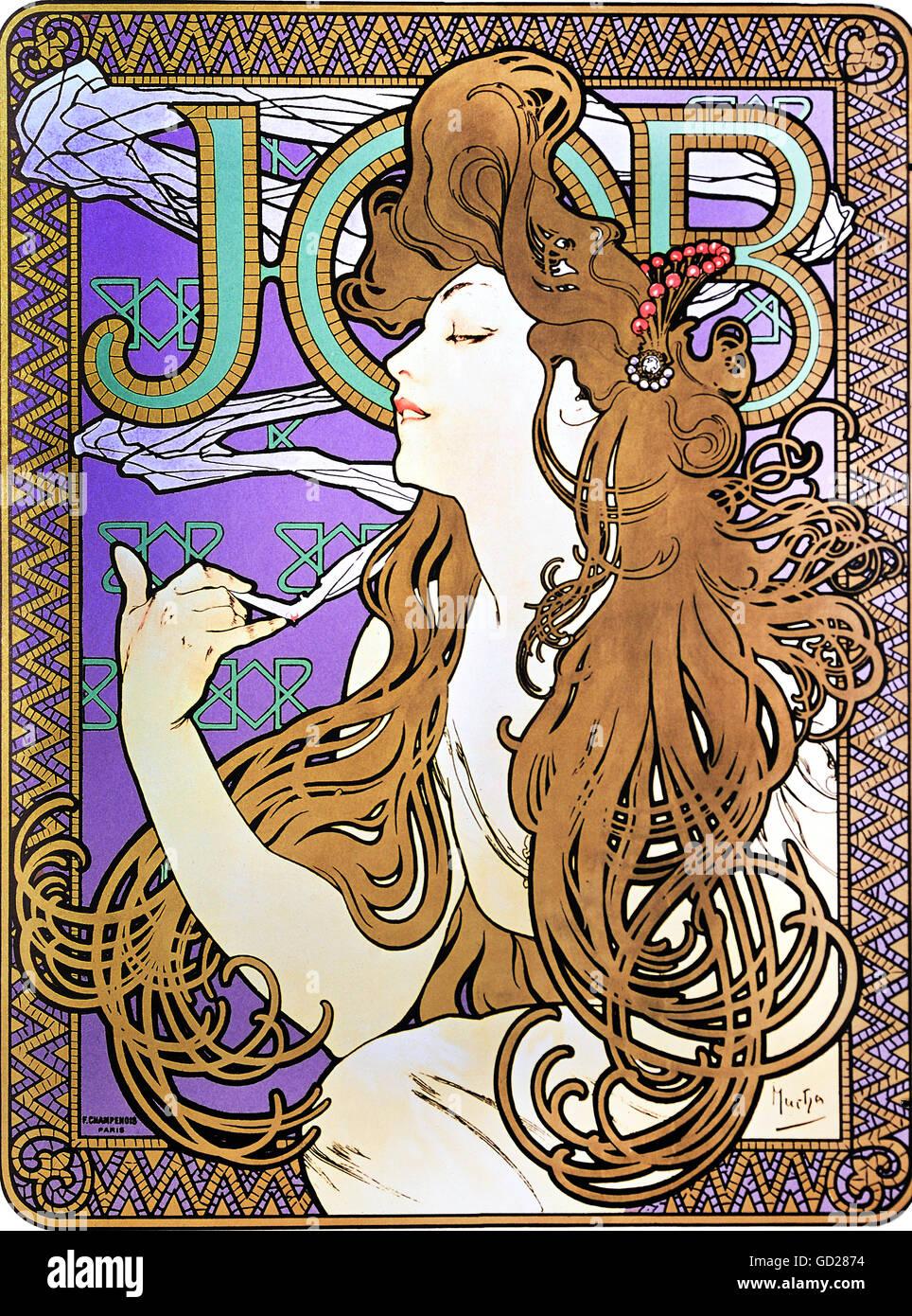 "fine arts, Mucha, Alphonse (1860 - 1939), poster, advertising poster for ""Job"" cigarettes, colour lithograph, Paris, Stock Photo"