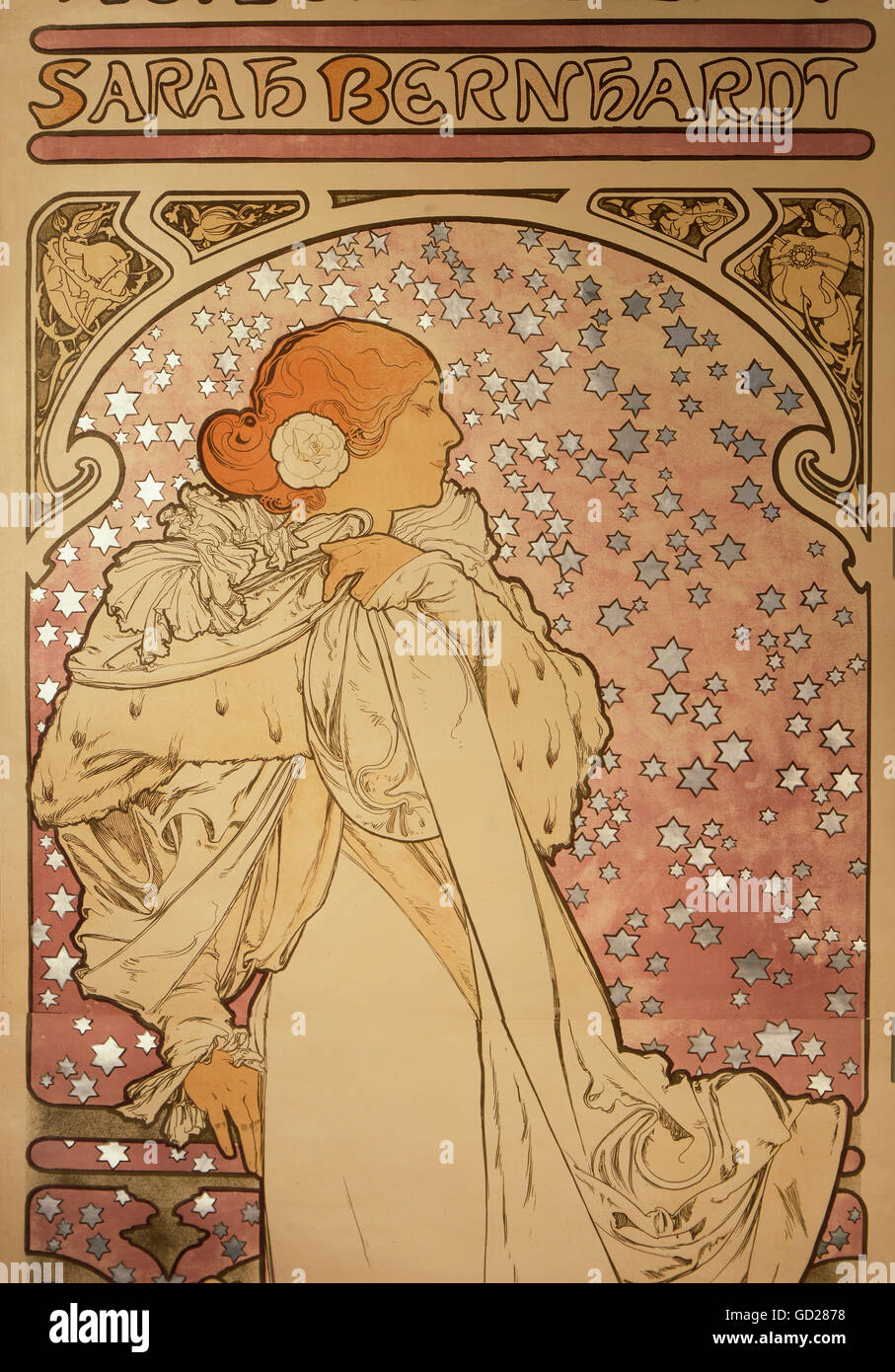 fine arts, Mucha, Alphonse (1860 - 1939), poster, detail from an advertising poster of the Theatre de la Renaissance, Stock Photo