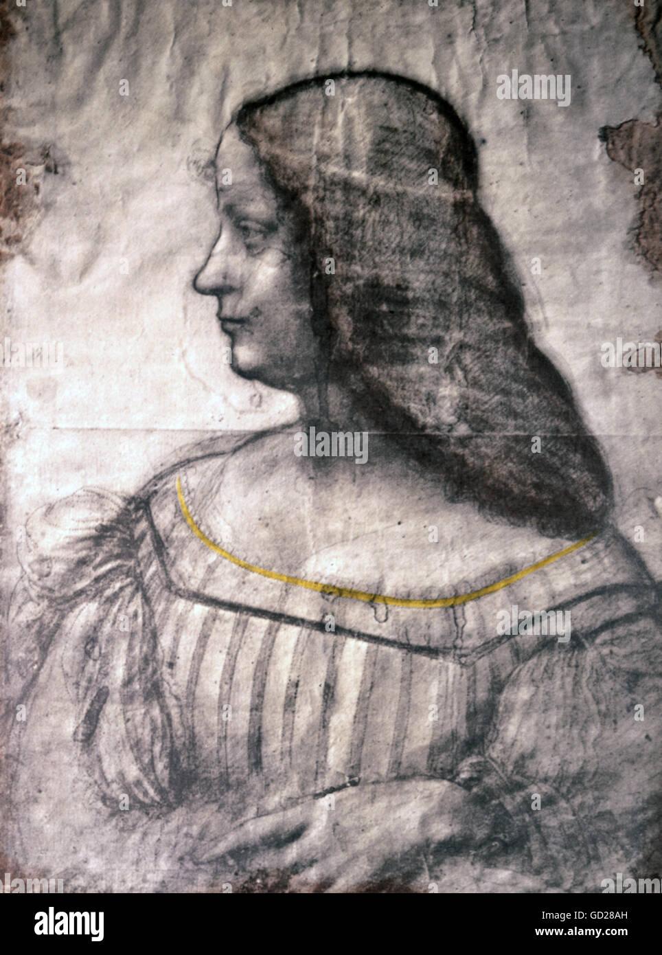 fine arts, Leonardo da Vinci (1452 - 1519), drawing, portrait study for a painting of Isabella d'Este (1474 - Stock Image