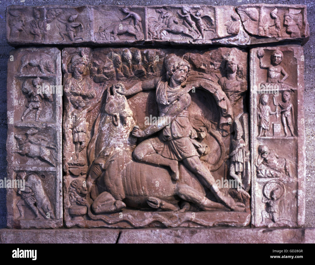 fine arts, ancient world, Roman Empire, sculpture, tauroctony, Mithras killing the bull, relief from Heidelberg, - Stock Image
