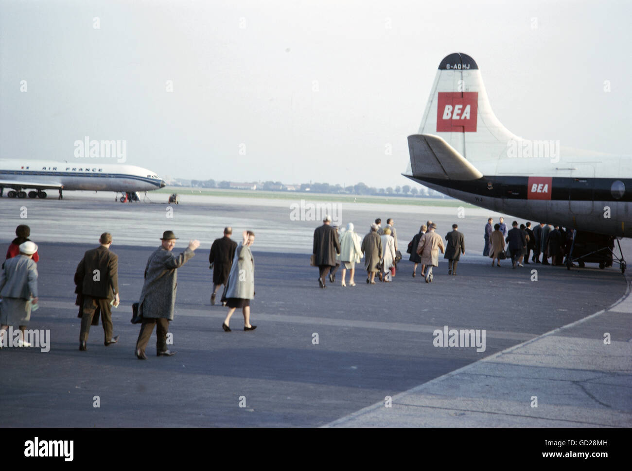 transport/transportation, aviation, airport, Munich Riem, passengers boarding a plane of British European Airlines, - Stock Image