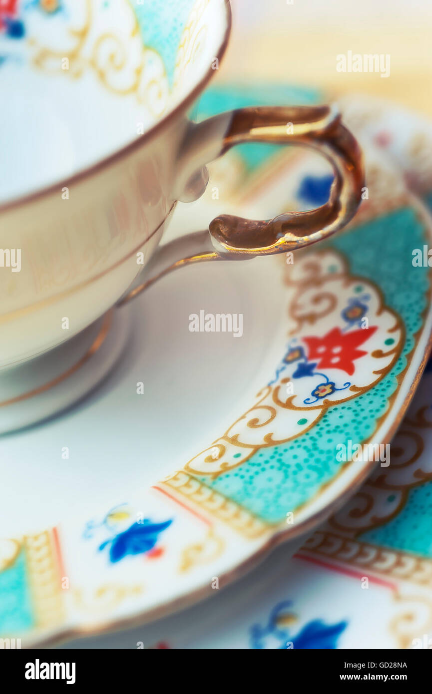 Close up of antique china cup, saucer and plate - Stock Image