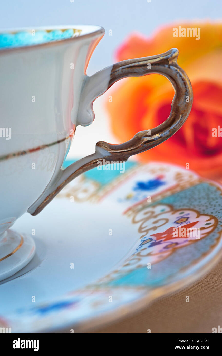 Close up of antique china cup - Stock Image