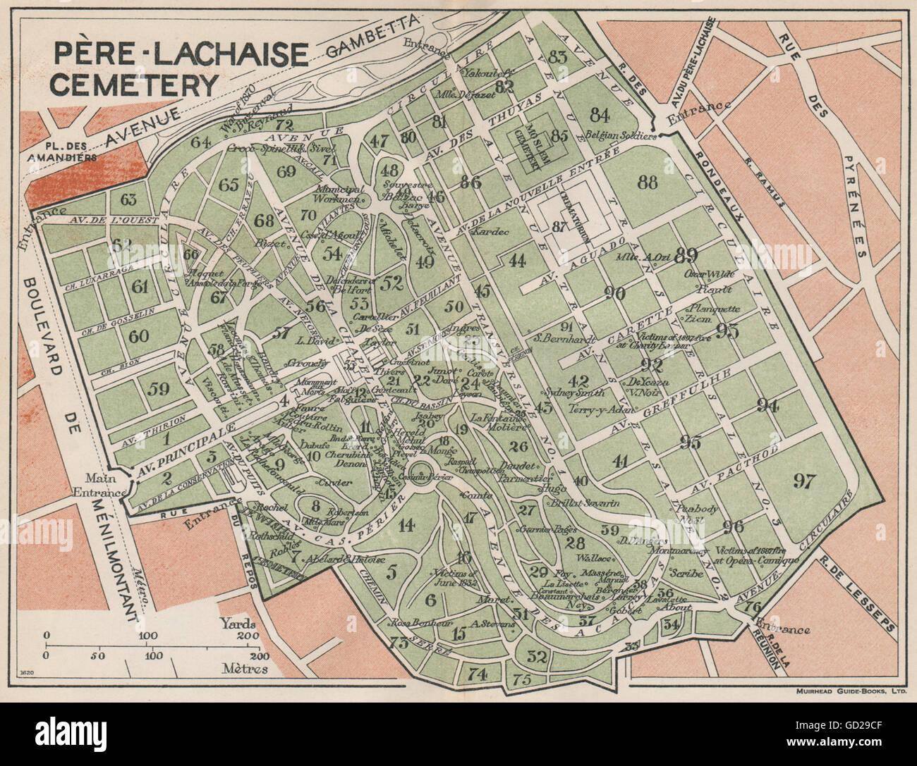 Père Lachaise Cemetery Map CIMETIÈRE DU PÈRE LACHAISE. Vintage map plan. Pere Lachaise  Père Lachaise Cemetery Map