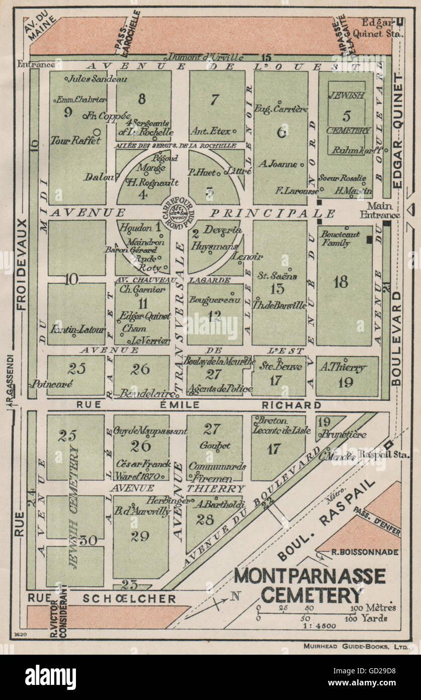 CIMETIÈRE CIMITIERE MONTPARNASSE CEMETERY. Vintage map plan. Paris, 1927