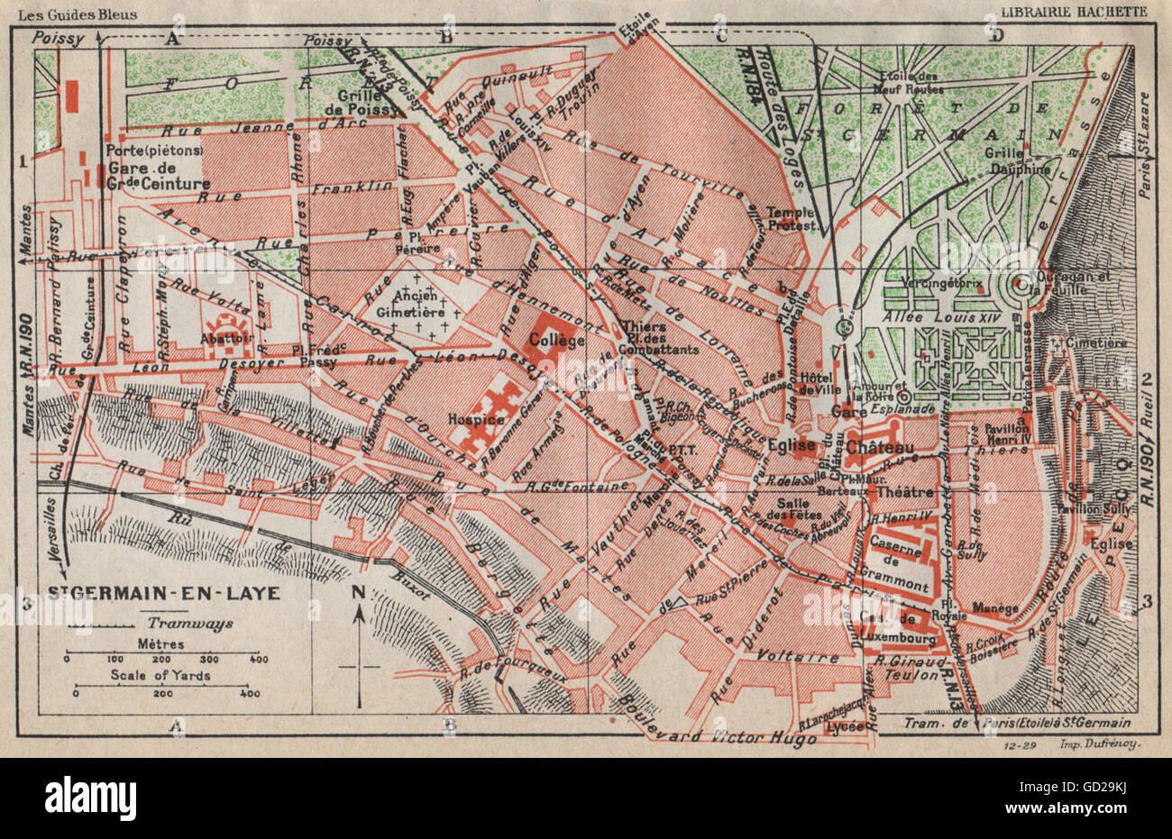 Map Of Yvelines France.St Germain En Laye Vintage Town City Map Plan Yvelines 1927