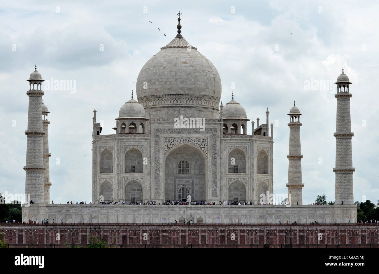 The Taj Mahal is a white marble mausoleum in Agra,  built by Mughal Emperor Shah Jahan in memory of his third wife Stock Photo