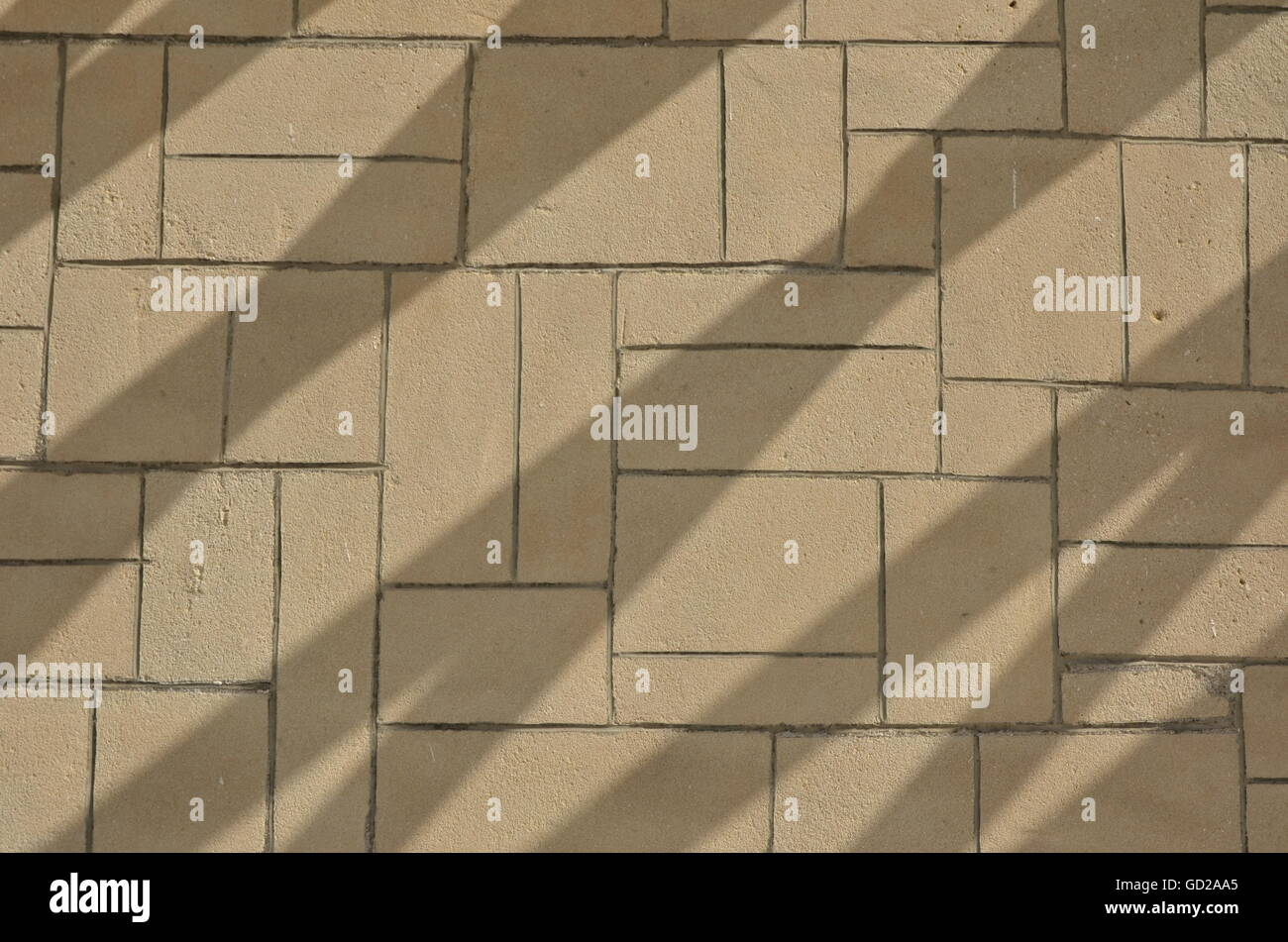 Red, Brick, floor, shadow pattern, texture, wall, background - Stock Image