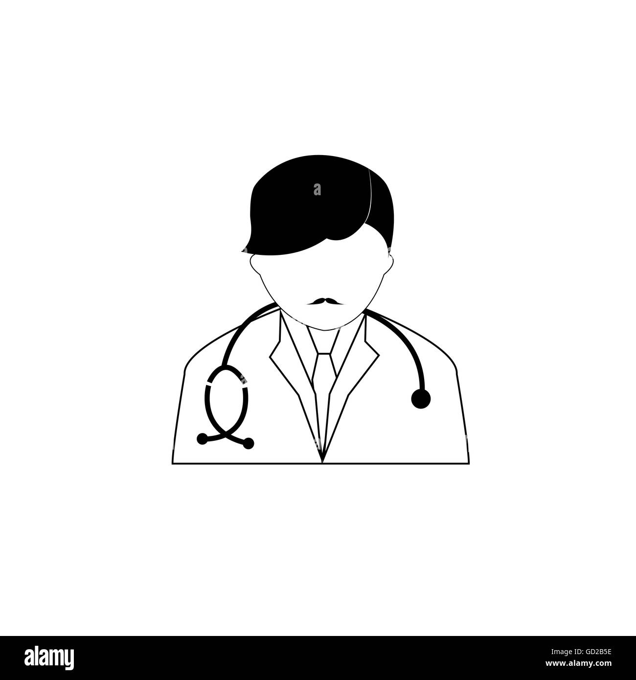 Pictogram of a doctor with his sthethoscope - Stock Image