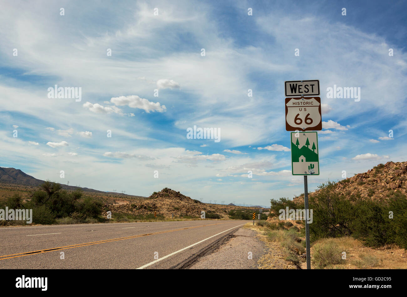 route 66 historic sign; arizona, united states of america stock