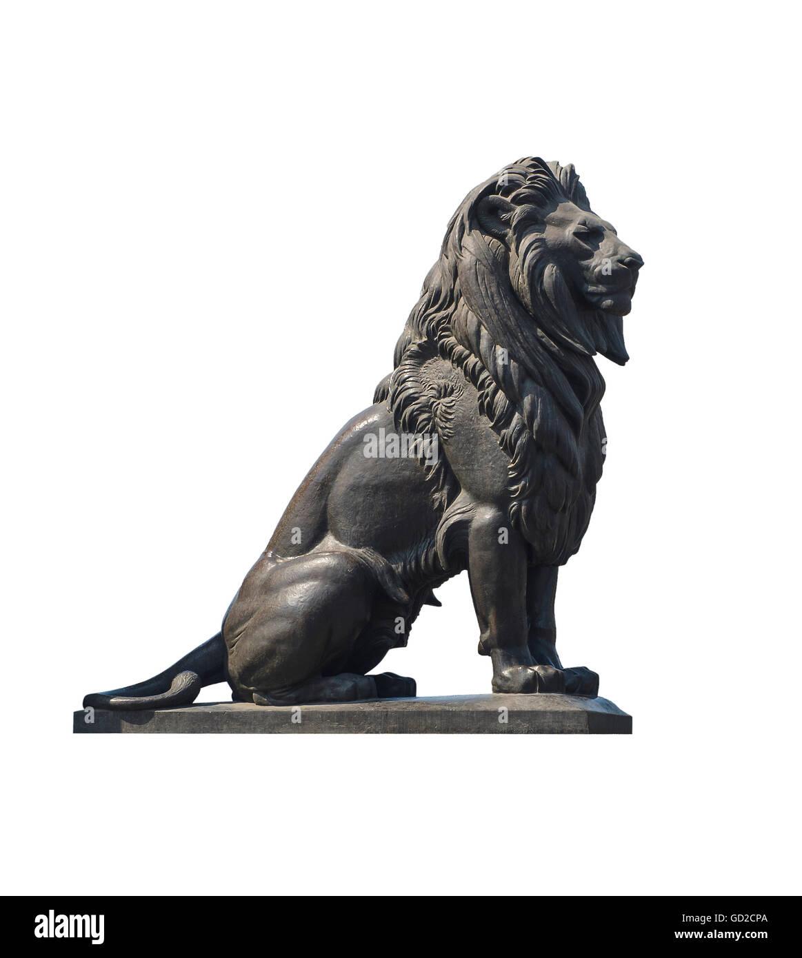 Qasr El-Nile Lion Statue Isolated on White - Stock Image