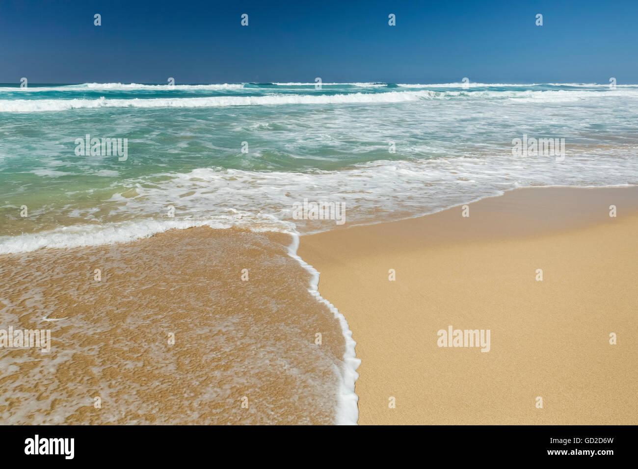 Water washing up on the beach, Barking Sands (Polihale Beach) on West Kauai; Kauai, Hawaii, United States of America Stock Photo