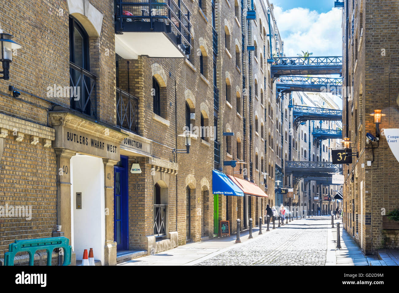 London, UK - June 24, 2017 - Street view of Shad Thames, a historic riverside street next to Tower Bridge in Bermondsey - Stock Image