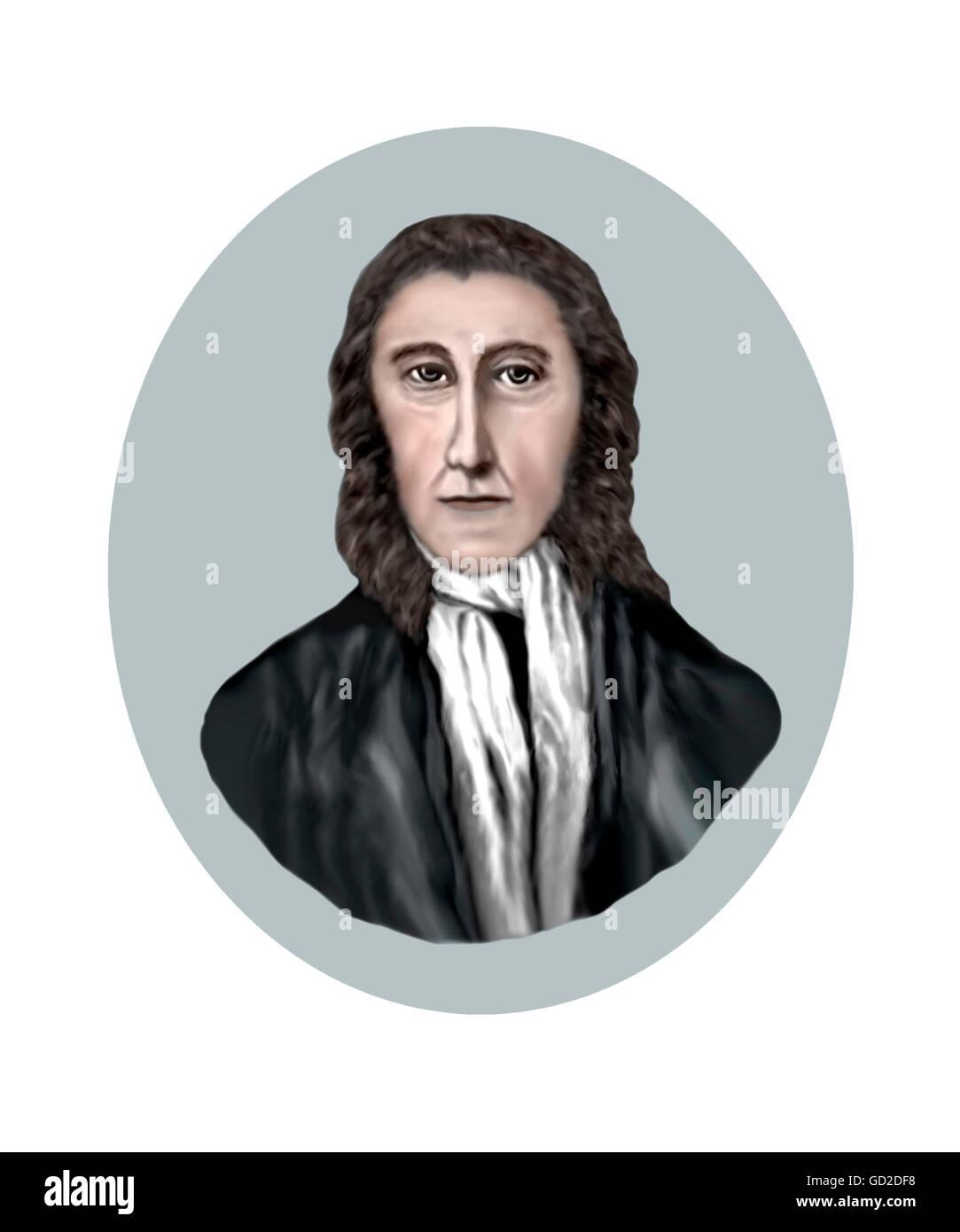 Robert Hooke, 1635-1703, Scientist, Natural Philosopher, Architect, Polymath, Portrait based on written descriptions - Stock Image