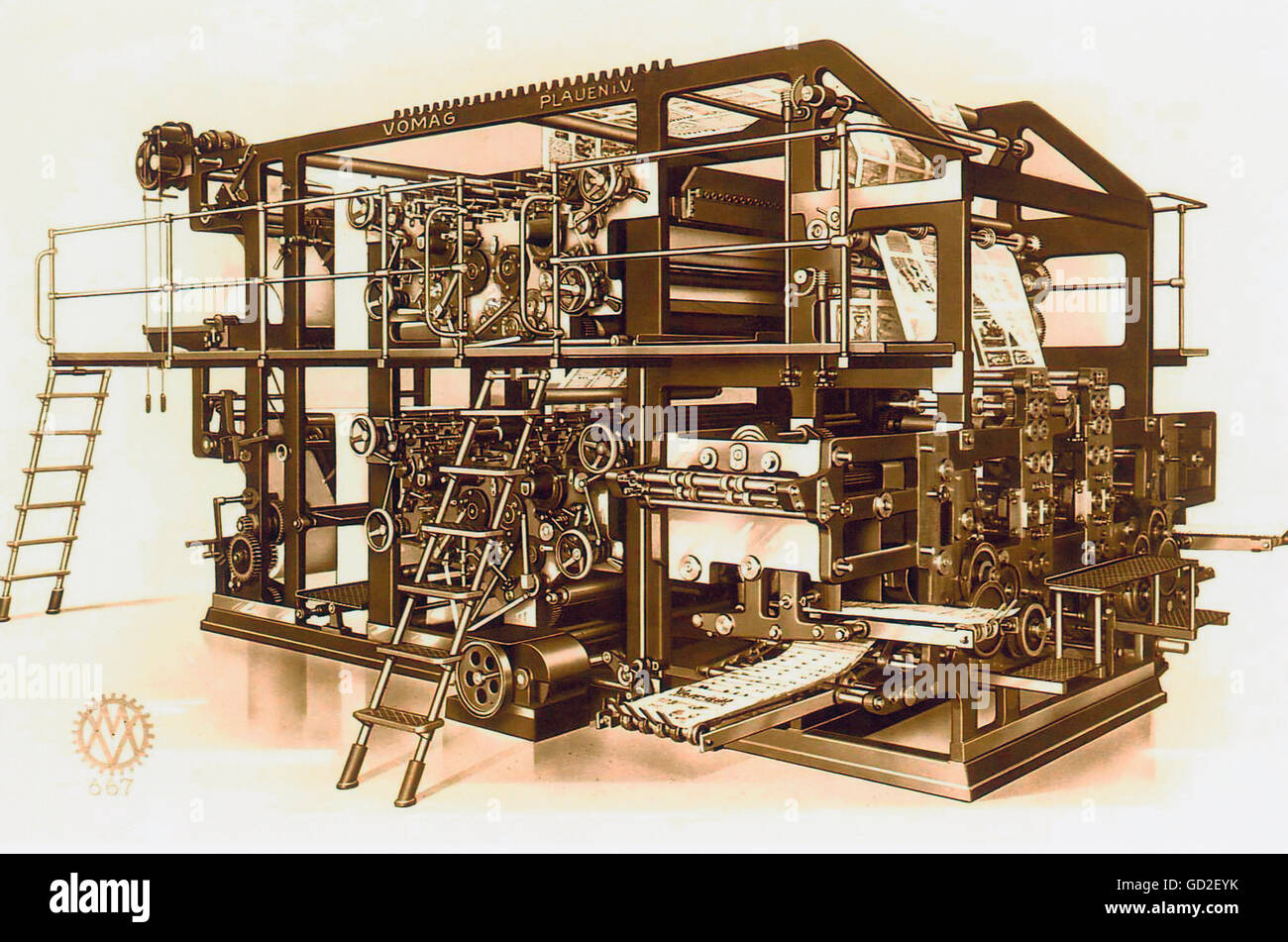 technics, typography, printing press, rotary offset press, Vomag, Plauen, Germany, 1907, Additional-Rights-Clearences - Stock Image