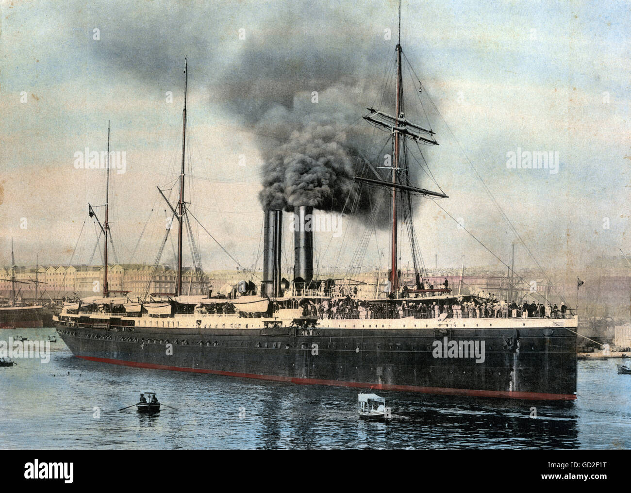 transport / transportation, navigation, steamships, steamship in a harbour in Polynesia, photograph, coloured, late - Stock Image