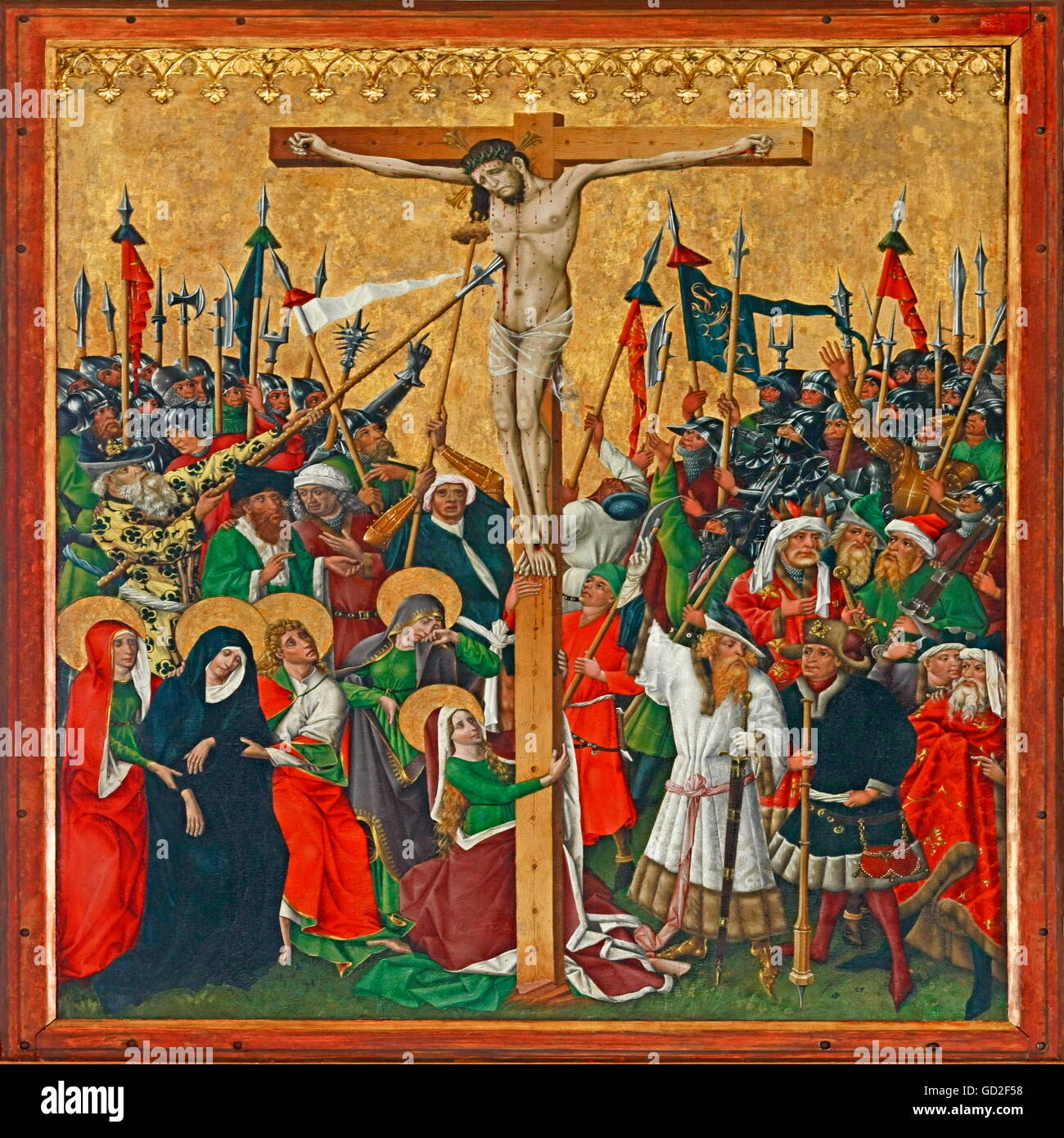 fine arts, religious art, Gothic winged altar, circa 1445, central plate, crucifixion of Jesus Christ, Our Lady - Stock Image