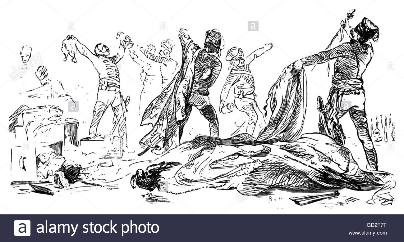 Seven Years War 1756 - 1763, Prussian hussars looting the luggage of French officers, Gotha, 1757, wood engraving - Stock Image