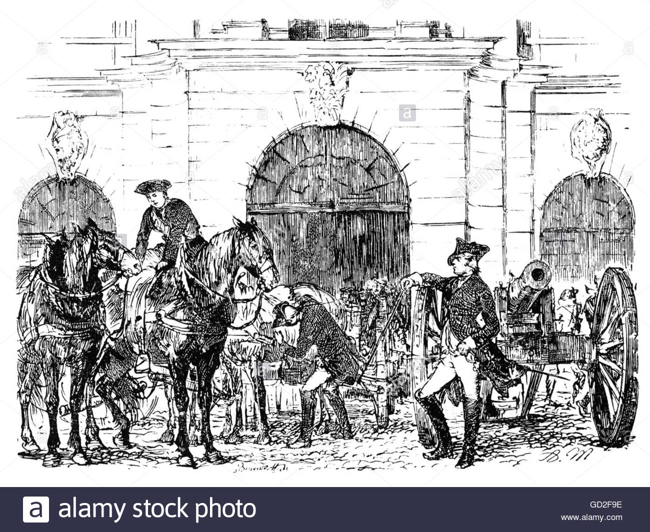 military, Germany, Prussia, army, artillery, Berlin Armoury, um circa 1775, wood engraving by Adolph Menzel, 'Geschichte - Stock Image
