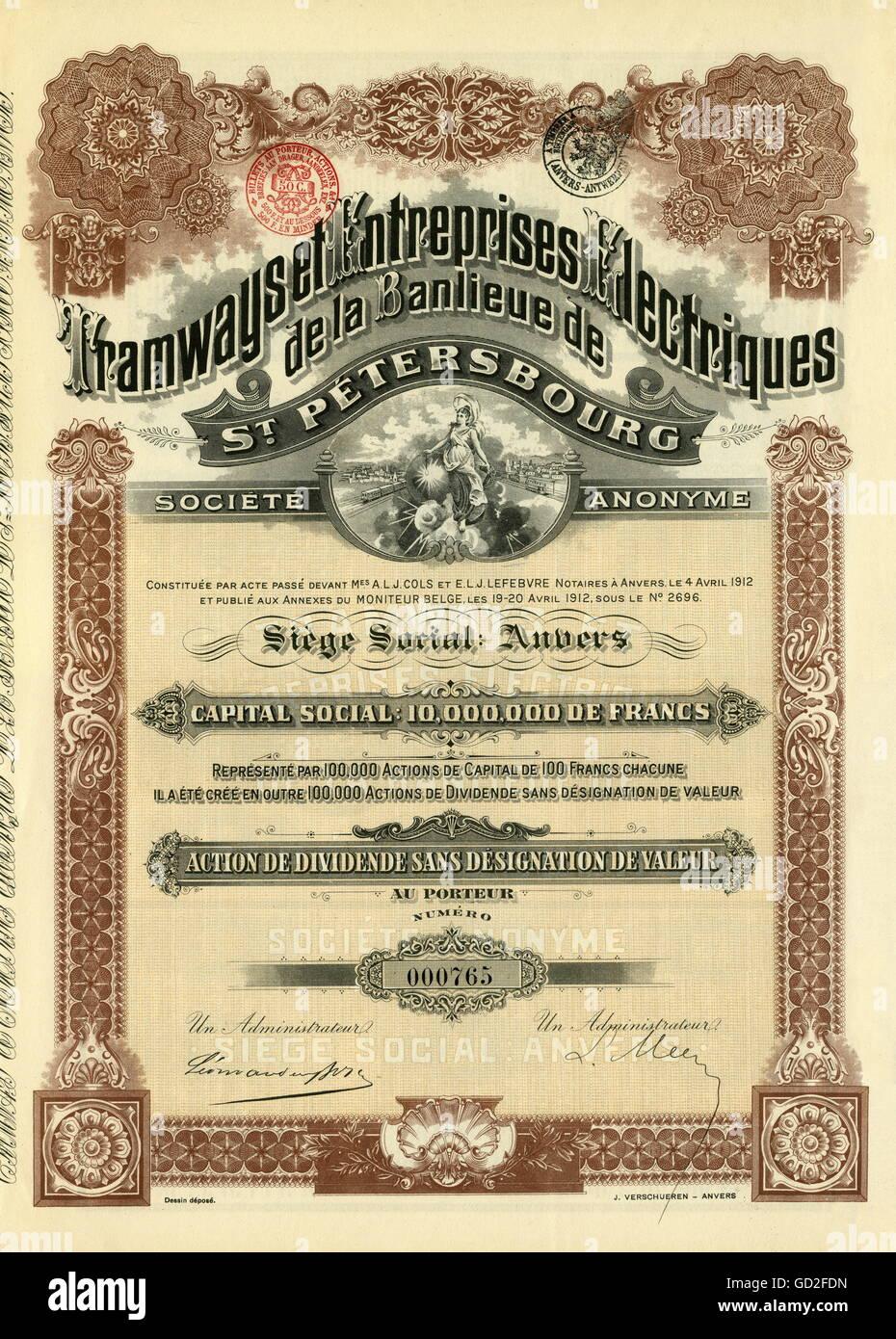 money / finances, share, share of the Tramways et Entreprises Electriques de la Banlieu de St. Petersbourg, Societe - Stock Image