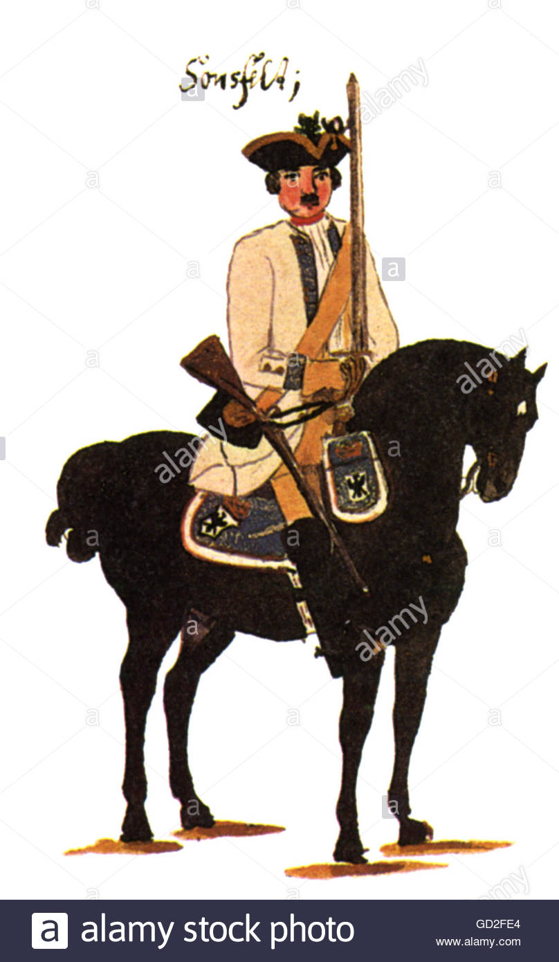 military, Germany, Prussia, cavalry, horseman of Regiment of Dragoons 'Sonsfeld' (no. 2), print after drawing - Stock Image