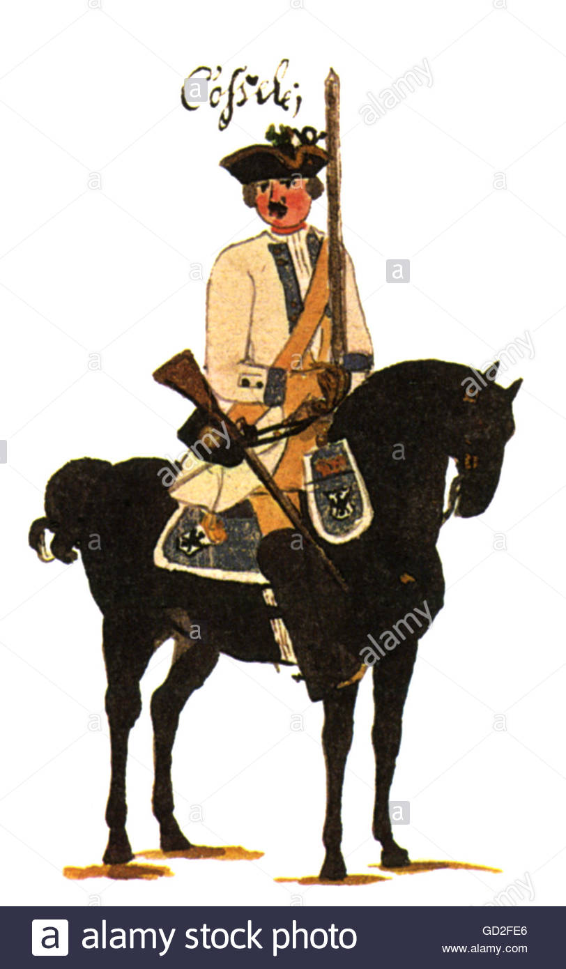 military, Germany, Prussia, cavalry, horseman of Regiment of Dragoons 'Cosel' (no. 6), print after drawing - Stock Image