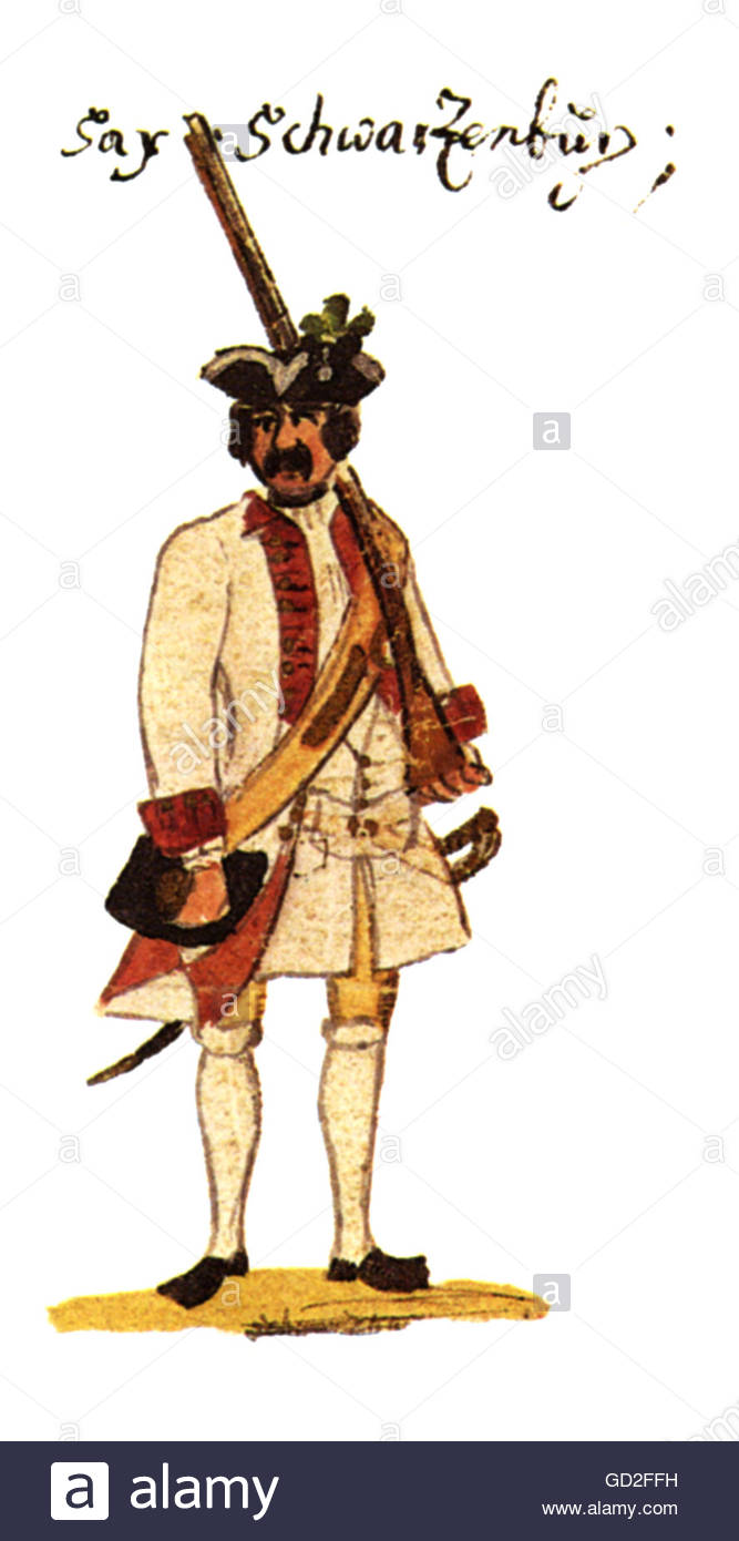 """military, Germany, Upper Saxon Circle, musketeer of the Infantry Regiment """"Schwarzburg"""", print after drawing by Stock Photo"""