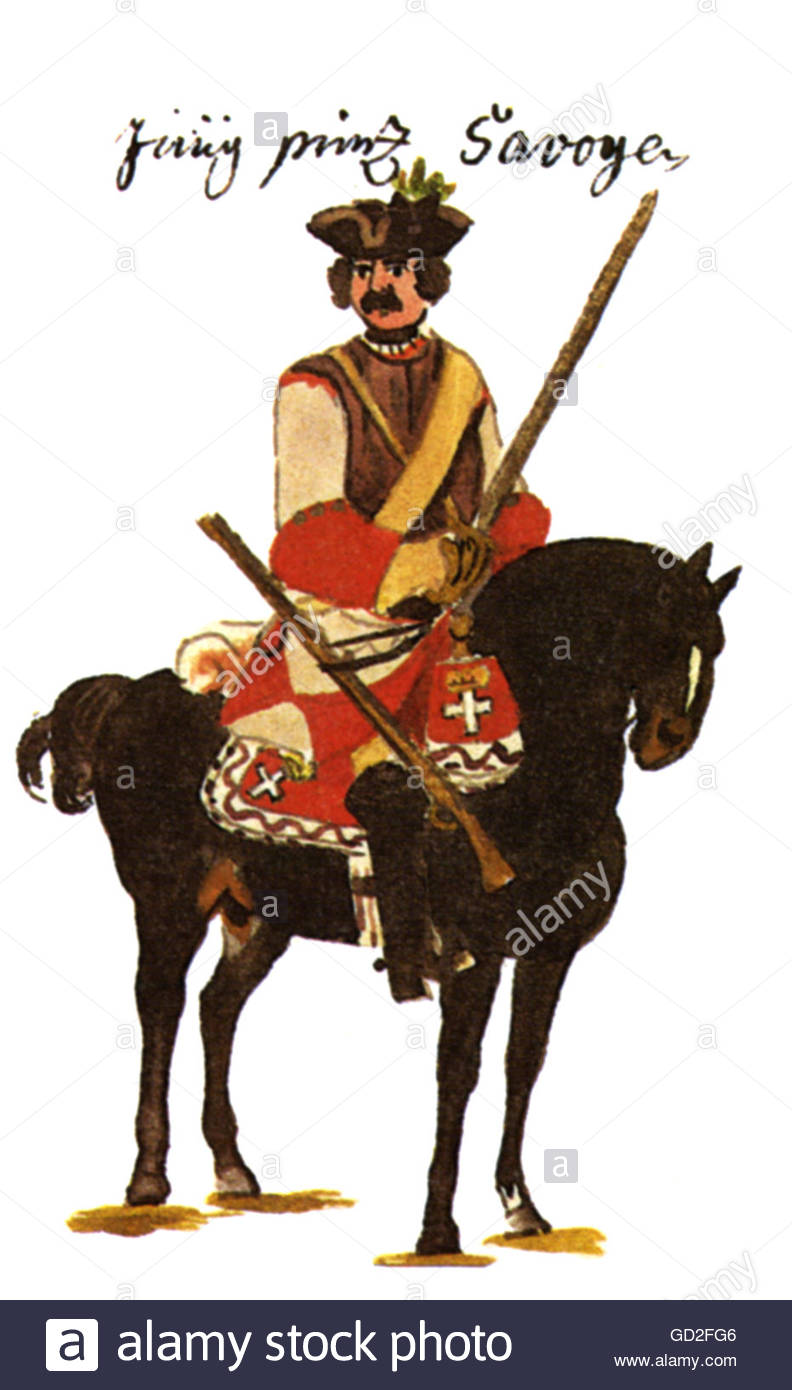 military, Austria, cavalry, horseman of the Cuirassier Regiment 'Jung-Savoyen' (No. 2), print after drawing - Stock Image