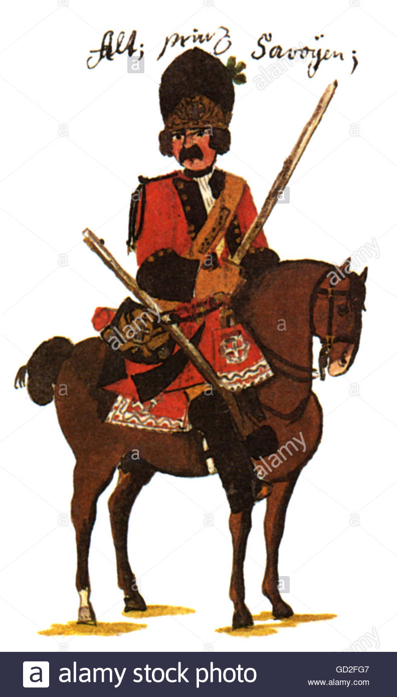 military, Austria, cavalry, horseman of Regiment Dragoons 'Alt-Savoyen' (No. 4), print after drawing by - Stock Image