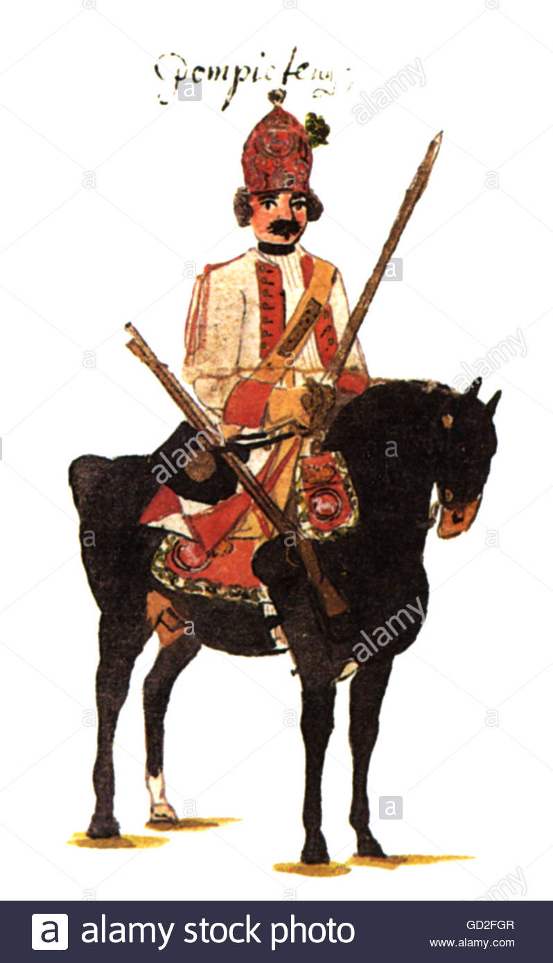 military, Germany, Hanover, cavalry, grenadier of Regiment of Dragoons 'Pontpietin' (No. 2), print after - Stock Image