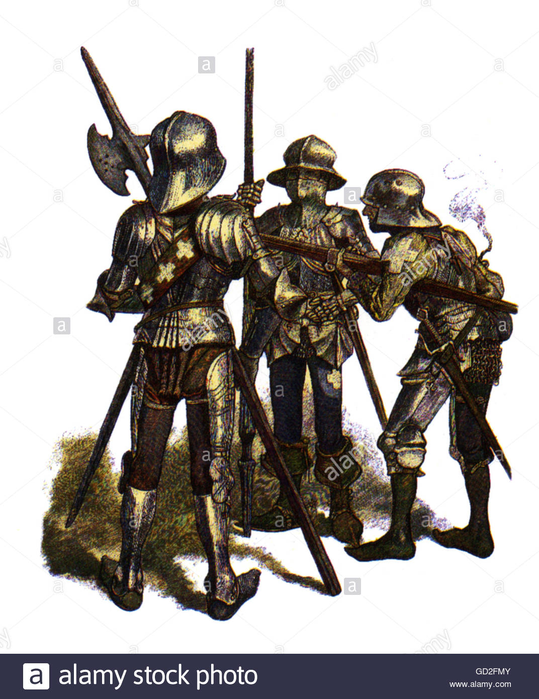 military, Middle Ages, infantry, Swiss halberdier, pikeneer and harquebusier, 15th century, coloured wood engraving, - Stock Image