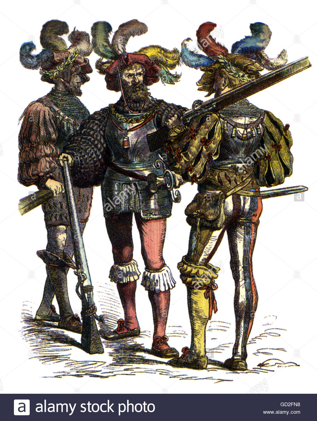 military, lansquenets, Germany, harquebusiers, 1st half 16th century, coloured wood engraving, 'Muenchner Bilderbogen', - Stock Image