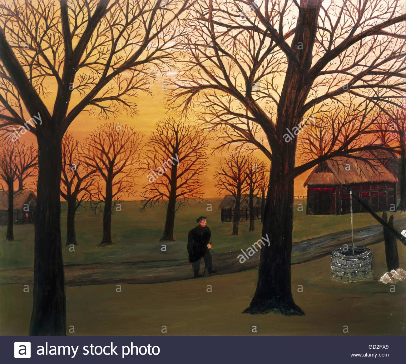 fine arts, Rusche, Dr. Waldemar, called 'Paps' (1882 - 1965), 'Heimkehr am Abend' (Return in the - Stock Image