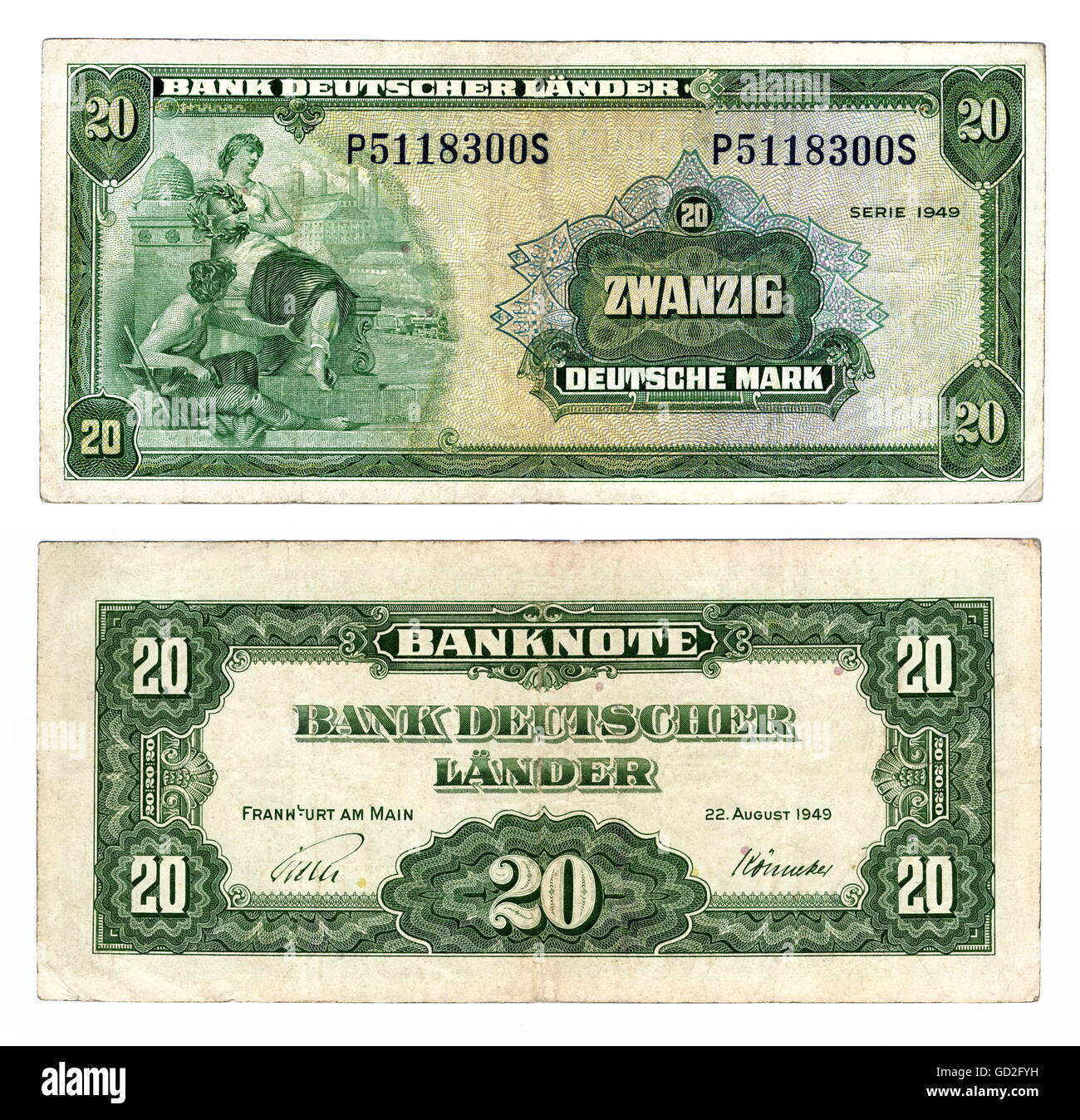 money / finances, banknote, first 20-Mark banknote, obverse and reverse side, during of the currency reform on 21.6.1948, - Stock Image